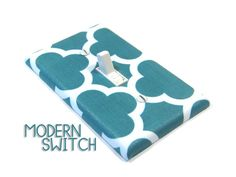 Teal Quatrefoil Light Switch Cover Geometric Decor by ModernSwitch