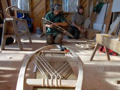 Making snowshoes, photo collection from Maine Primitive Skills School