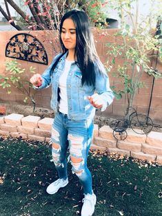 fe0450d4c2ba9 Cute outfit Light jean jacket Light ripped jeans (Hollister) Baby blue  huaraches Hollister Jeans