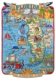 Coloring Map Of Florida Unique Florida State Map Art Print In 2019 Florida State Map, Florida Maps, Destin Florida, Orange Beach Alabama, Pictorial Maps, Vintage Florida, Ink Illustrations, Watercolor And Ink, Map Art