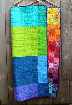 quilt back.  I LOVE this quilt....with the ombre rainbow colors...gorgeous, and simple too