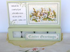 Easter greeting card, Religious Easter Card, Happy Easter Greeting Card, Tealight Candle Card, paper handmade greeting card by BellaBoutique23 on Etsy