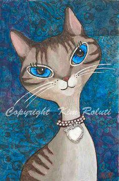 Original MixedMedia Painting Print Whimsical Kitty by KimRolutiArt, $12.95