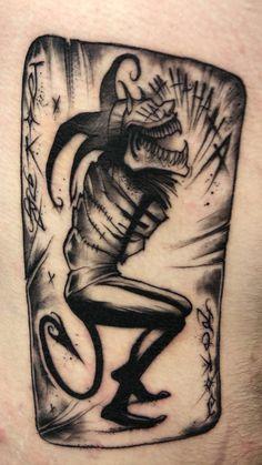 Joker Card by Donovan Spence at Corner Tattoo. Joker Smile Tattoo, Batman Joker Tattoo, Joker Card Tattoo, Comic Tattoo, Joker Tattoos, Joker Joker, Funny Joker, Joker Art, Card Tattoo Designs