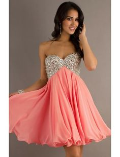 A-Line Short Strapless Chiffon and Beading Party Dress