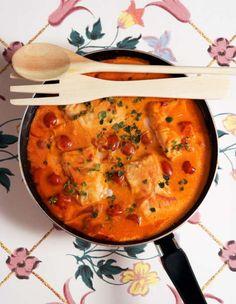 Fiskgryta med tomatsås.