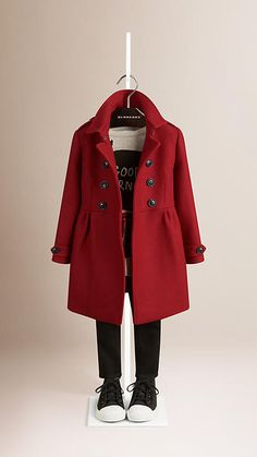Burberry Damson Red Virgin Wool Cashmere Blend Coat - Double-breasted coat in a warm virgin wool and cashmere blend. Lightly gathered skirt with back pleats. Discover the childrenswear collection at Burberry.com