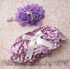 Purple ruffle Diaper cover and Headband SET by NixiBlueDesigns
