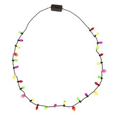 Mini Bulbs Christmas Light Up Necklace | Look as lit as a Christmas tree with this Mini Christmas Light Up Bulbs Necklace. Purple, yellow, red, and green bulbs decorate this black wired necklace. With just the click of a button, watch as this necklace instantly lights up the holy night!