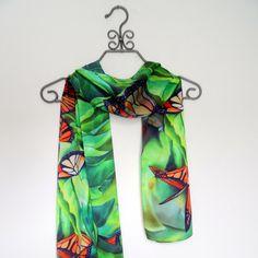 Monarch Butterfly Silk Satin Scarf 15x60