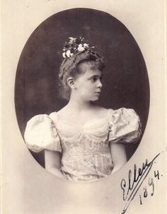 Grand Duchess Elena Vladimirovna of Russia, first cousin to the last Tsar, as a young girl, fresh as a rose, in 1894