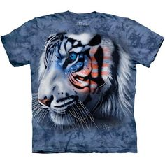 STARS & STRIPES WHITE TIGER T-SHIRT by The Mountain USA America Adult Tee NEW! #usa #tiger #america