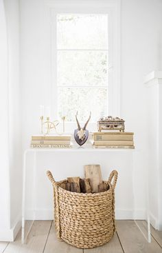 basket to hold logs by fireplace