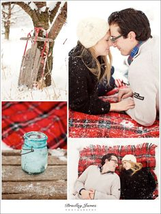 winter engagement with toboggan, flannel blanket and hot cocoa?