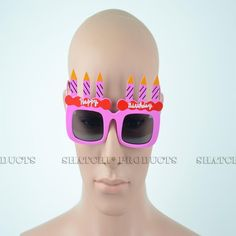 """Novelty """"Happy Birthday"""" glasses with added candles. Novelty Sunglasses, Pink Happy Birthday, Cool Glasses, Pink Candles, Party Accessories, Fancy Dress, Whimsical Dress, Costume, Party Supply Stores"""