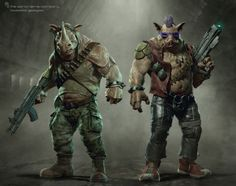 """Conceptual artist, Tsvetomir Georgiev (""""Green Lantern""""), posted concept art he created for Michael Bay's Teenage Mutant Ninja Turtles and the images include designs for three super-villains that did not appear in the film: Krang, Bebop and Rocksteady. Teenage Mutant Ninja Turtles, Ninja Turtles Art, Casey Jones, Comic Books Art, Comic Art, Posters Geek, Art Posters, Bebop And Rocksteady, Sr1"""