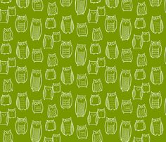 """Little"" Night Owl Green/White fabric by leanne on Spoonflower - custom fabric"