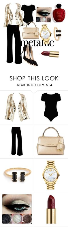 """""""Gold..."""" by mellow90 ❤ liked on Polyvore featuring Boohoo, A. Byer, MICHAEL Michael Kors, Movado, Urban Decay, Satine and Jimmy Choo"""