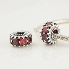 1pc 925 Sterling Silver Charms Ruby Red Crystal Birthstone Beads Compatible with Pandora Chamilia Kay Troll European Bracelets