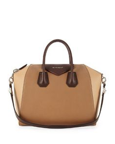 V1Z40 Givenchy Antigona Sugar Tricolor Satchel Bag, Beige Multi