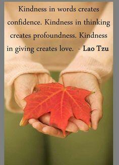 Kindness in words creates confidence. Kindness in thinking creates profoundness. Kindness in giving creates love. #LaoTzu #Quote