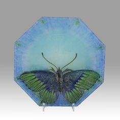 Almaric Walter Pate-de-Verre Glass Butterfly Plate