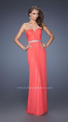 La Femme 20009 Coral Sequins Prom Dress