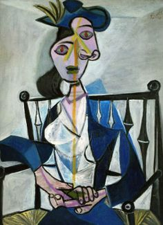 1)Pablo Picasso, Le portrait de Dora Maar, 1941 2)Cubism 3)Cubism: Art that consists of geometric shapes that work together to create an image. 4)This artwork shows cubism because of Picasso's use of multiple abstract shapes that, together, create a portrait of his model Dora Maar.