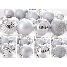 Christmas Silver Baubles 24pcs Hanging Decorations New Collection String Hangers #KIStore