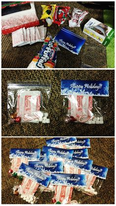 These are my holiday goodie bags for my residents at our closing meeting! I think they came out really cute! The top part was just printed on computer paper, folded, and stapled onto the bag. The bags include a hot chocolate mix, mini marshmallows, a mini candy cane, and three holiday kisses. I had to make 56 of them. Cost me about $25 from my budget. - RA life, program
