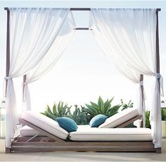 "Restoration Hardware ""Malta"" chaise and canopy double chaise Furniture, Outdoor Bed, Luxury Interior Design Living Room, Bedroom Interior, Modern Furniture Living Room, Outdoor Furniture Collections, Outdoor Living Furniture, Teak Lounge Chair, Interior Design Bedroom"