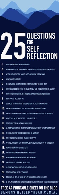 Sometimes we need to step back and evaluate our we feel, what we are doing, and why. Here are 25 Questions for Self Reflection. Click to download the full list! | Self Improvement | Personal Growth Journaling Prompts