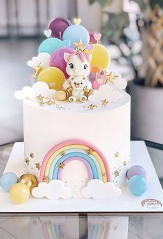 Baby Girl Birthday Cake, 1st Birthday Cake For Girls, Candy Birthday Cakes, Pretty Birthday Cakes, Baby Girl Cakes, First Birthday Cakes, Elegant Birthday Cakes, Baby Boy, Unicorn Cake Design
