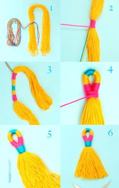 Learn how to make easy diy yarn or embroidery thread tassels, with a loop - perfect to hang on door handles, as a bag charm or necklace. Beautiful colorful diyi boho tassels! Learn more in Llama Crafts a book by Ellen Deakin of Happythought. Diy Crafts For Adults, Crafts To Make, Easy Crafts, Easy Diy, Diy Day Of The Dead, Carnival Crafts, Paint Paint, String Bracelets, Llama Birthday
