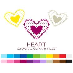 Valentine Heart Clipart for Personal & Commercial by coloryourway