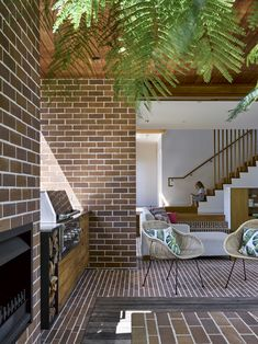 Project // Crescent House Architect // Deicke Richards Photographer // Christopher Frederick Jones Product // Bowral Bricks in Capitol Red & Hereford Bronze Outdoor Spaces, Outdoor Living, Outdoor Decor, Precast Concrete Panels, Masonry Blocks, Timber Battens, New Staircase, Glass Brick, Old Cottage