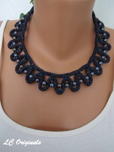 RAINBOW DARK BLUE beaded necklace by LCOriginalsJewelry on Etsy, $49.00