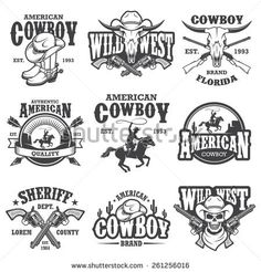 Set of vintage cowboy emblems, labels, badges, logos and designed elements. Wild West theme. Monochrome style