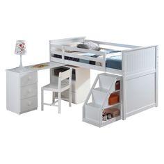 Acme Furniture - Wyatt 5 Piece Bedroom Kids Loft Bed Set in White - Futon Bunk Bed, Loft Bunk Beds, Low Loft Beds, Cheap Bunk Beds, White Wood Desk, Twin Size Loft Bed, Loft Bed Frame, White Chests, Acme Furniture