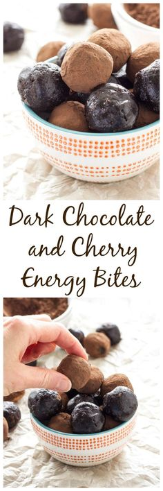 Dark Chocolate and Cherry Energy Bites | Vegan, gluten free, and paleo energy bites that taste just like brownie batter! All clean eating ingredients are used for this snack bite or after dinner dessert recipe. Pin this healthy recipe now for later!