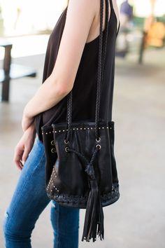 No Letting Go Black Bucket Bag at reddressboutique.com