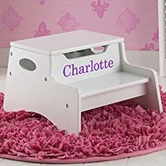 Step Stool with Storage - White for Girls * You can find out more details at the link of the image. (This is an affiliate link) Personalised Toy Box, Personalized Baby Gifts, Box Bedroom, Box Cushion, Pink Elephant, Toy Boxes, New Toys, Kids Furniture, Storage
