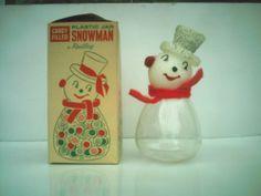 Vintage 1950's Rudley Snowman Plastic Candy Container Jar Original Box | eBay