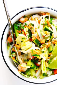 LOVE this Vietnamese Spring Roll Salad! It's full of rice noodles, cucumber, carrots, cabbage, sprouts, peanuts, lime, mint, and a zesty vinaigrette. Feel free to make with shrimp, pork, chicken or tofu. | Posted By: DebbieNet.com