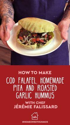 Cod Falafel, Homemade Pita and Roasted Garlic Hummus Healthy Vegetable Recipes, Lentil Recipes, Vegetable Dishes, Healthy Dinner Recipes, Beef Recipes, Whole Food Recipes, Cooking Recipes, Roasted Garlic Hummus, Buzzfeed Tasty