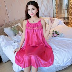 Wholesale 2017 Summer ice Silk Sexy Print Ruffles Nightgown Home Wear Lovely Nightgowns for Women Girl Sleepwear&Nightgown #Affiliate