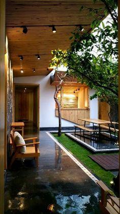 Extérieure décoration pour jardin, terrasse et balcon Home Room Design, Dream Home Design, Home Interior Design, Exterior Design, Bungalow House Design, Modern House Design, Indian Home Design, Courtyard Design, Courtyard House Plans