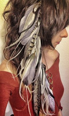 Hair Feathers / Long Feather Hair Clip / Clip In Extensions / Hair Falls / Feather Headdress / White Gray Hippie Boho Bohemian  Accessories by Chrysalism on Etsy https://www.etsy.com/listing/162009319/hair-feathers-long-feather-hair-clip