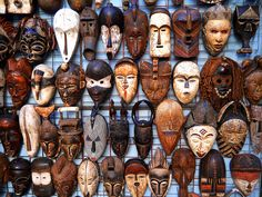 The Many Faces of Africa  Traditional African masks on sale in Green Market Square, Cape Town, South Africa