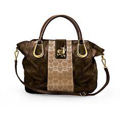 """Boston Terrier Love"" Satchel-Style Handbag With Dog Charm"
